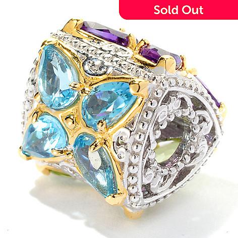125-375 - Gems en Vogue 2.04ctw Swiss Blue Topaz, Amethyst & Peridot Butterfly Charm