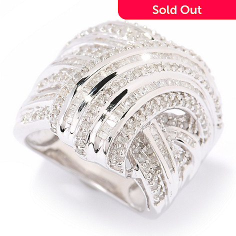 125-399 - Diamond Treasures® Sterling Silver 1.00ctw Diamond Overlay Wrap Ring