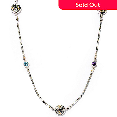 125-409 - Artisan Silver by Samuel B. 30'' 3.15ctw Multi Gemstone Station Necklace