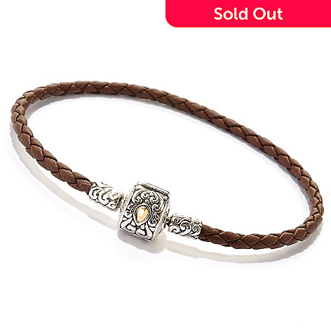 125-412 - Artisan Silver by Samuel B. Sterling Silver & 18K Gold Charm Accent Braided Leatherette Bracelet