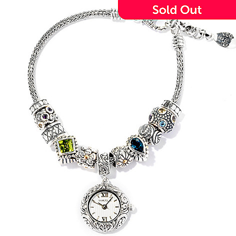 125-419 - Artisan Silver by Samuel B. 7.5'' Multi Gem Bracelet w/ Watch Charm