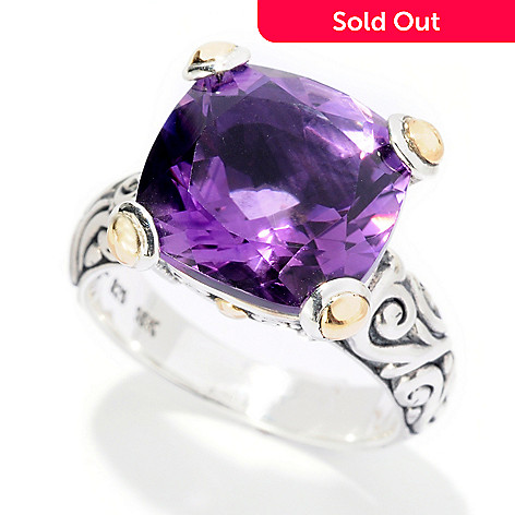 125-422 - Artisan Silver by Samuel B. 6.35ctw Cushion Cut Amethyst Ring