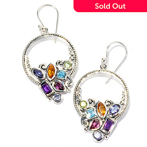 125-427 - Artisan Silver by Samuel B. 2.62ctw Multi Gemstone Dangle Earrings