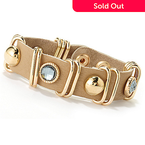 125-432 - Meghan Browne Style 7.5'' Faceted Crystal Adjustable Leather ''Talley'' Bracelet