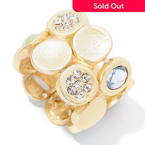 125-433 - Meghan Browne Style Round Crystal ''Avry'' Stretch Ring