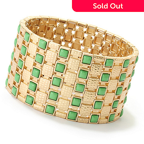 125-435 - Meghan Browne Style 7'' Gold-tone & Green Station ''Shannon'' Stretch Bracelet