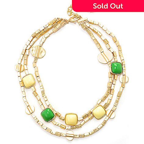 125-441 - Meghan Browne Style 15'' Gold-tone Multi Strand ''Margo'' Necklace