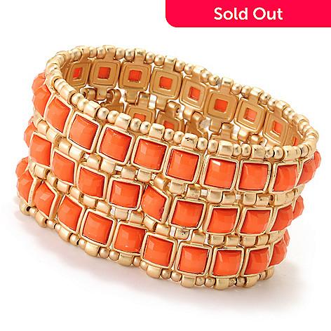 125-445 - Meghan Browne Style 8'' Gold-tone ''Jesse'' Stretch Bracelet