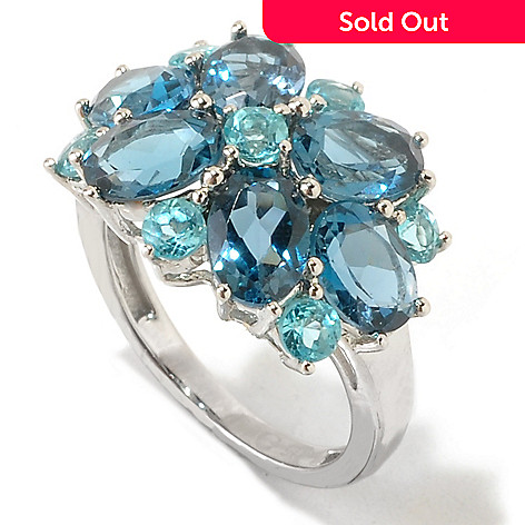 125-450 - NYC II 5.17ctw London Blue Topaz & Blue Apatite Flower Ring