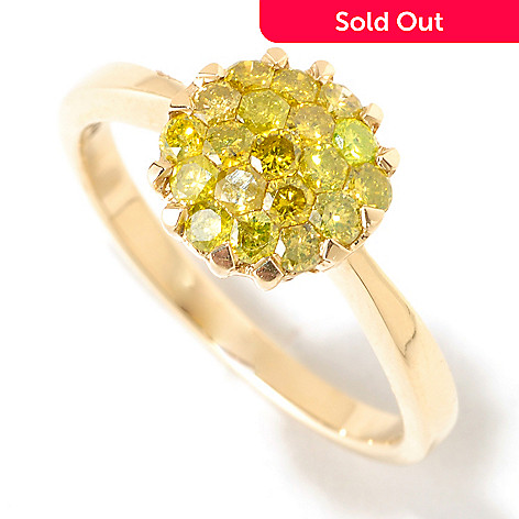125-455 - Diamond Treasures® 14K Gold 0.70ctw Yellow Diamond Flower Cluster Ring