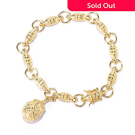 125-457 - Jaipur Jewelry Bazaar™ 18K Gold Embraced™ Fancy Link Charm Drop Bracelet