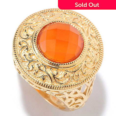 125-459 - Jaipur Bazaar Gold Embraced™ 10mm Carnelian Filigree Ring