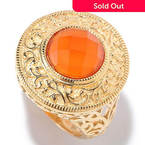 125-459 - Jaipur Jewelry Bazaar™ Gold Embraced™ 10mm Carnelian Filigree Ring