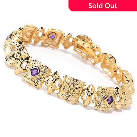 125-460 - Jaipur Jewelry Bazaar™ Gold Embraced™ 8'' Amethyst Station Bracelet