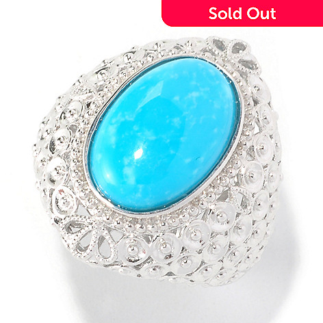 125-466 - Gem Insider Sterling Silver 15 x 10 Oval Kingman Turquoise Ring