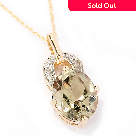 125-471 - Gem Insider 14K Gold 3.17ctw Green Zultanite & Diamond Pendant w/ 18'' Chain