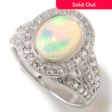 125-473 - Gem Insider® Sterling Silver 10 x 8mm Opal & White Sapphire Ring