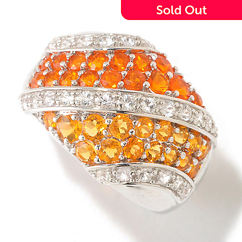 125-474 - Gem Insider® Sterling Silver 1.16ctw Fire Opal & White Sapphire Diagonal Band Ring
