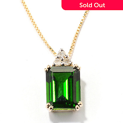 125-475 - Gem Treasures 14K Gold Gemstone & Diamond Pendant w/ 18'' chain