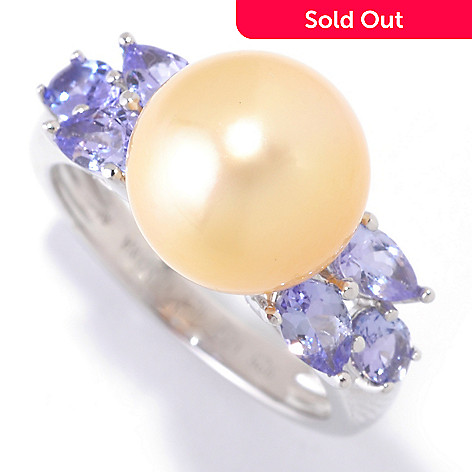 125-476 - Sterling Silver 10-11mm 1.10ctw Golden South Sea Cultured Pearl & Tanzanite Ring