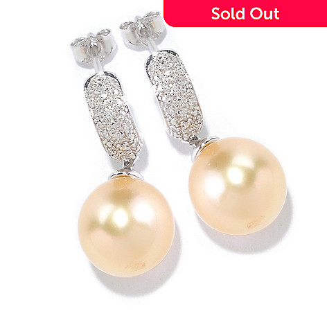 125-481 - Sterling Silver 10-11mm Golden South Sea Cultured Pearl & Diamond Earrings