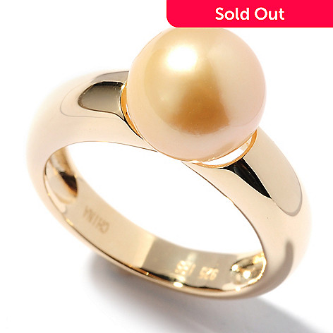 125-482 - Sterling Silver 14K Gold Embraced 9-10mm Golden South Sea Cultured Pearl Ring