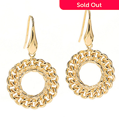 125-485 - Portofino Gold Embraced™ Polished Curb Link Circular Drop Earrings