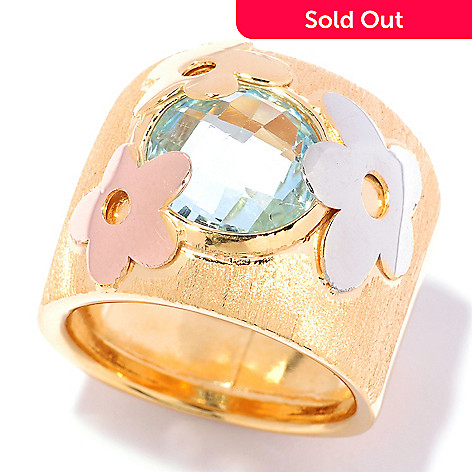 125-491 - Portofino Gold Embraced™ 3.20ctw Blue Topaz Tri-color Flower Band Ring
