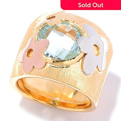 125-491 - Portofino Gold Embraced™ 3.20ctw Blue Topaz Tri-color Flower Band Ring