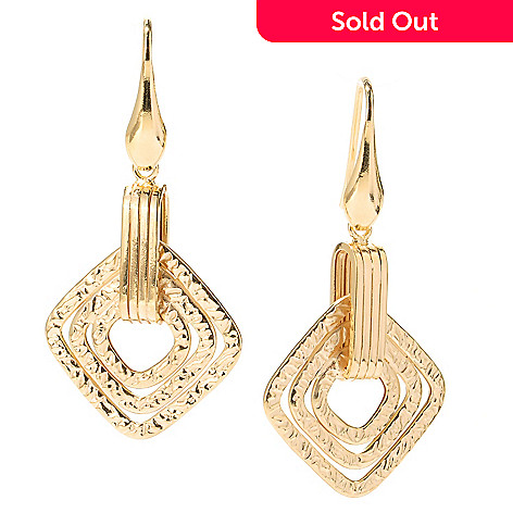125-494 - Portofino 18K Gold Embraced™ Multi Textured Diamond Shaped Drop Earrings