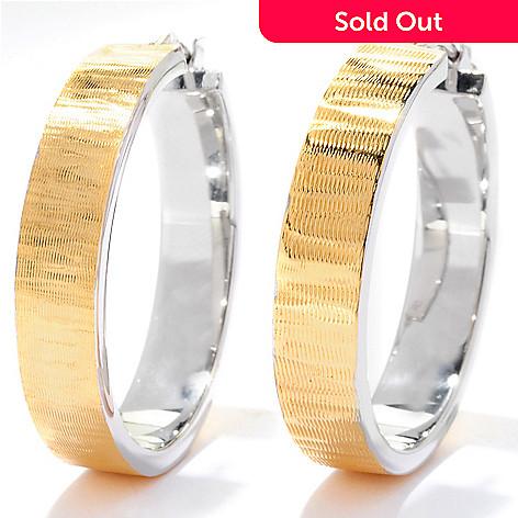 125-505 - Portofino 18K Gold Embraced™ Two-tone Square Edge Hoop Earrings