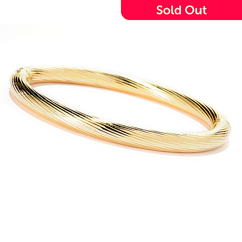 125-506 - Portofino Gold Embraced™ Diagonal Striped Hinged Bangle Bracelet