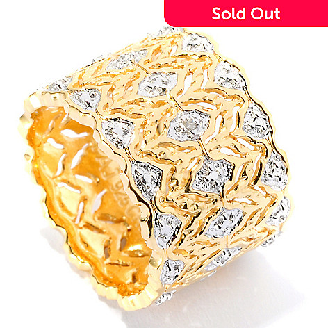 125-510 - Jaipur Jewelry Bazaar™ Gold Embraced™ Diamond Filigree Cigar Band Ring