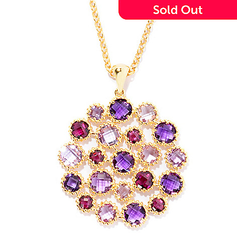 125-513 - Color by Design 9.02ctw Amethyst & Brazilian Garnet Medallion Pendant w/ 20'' Chain