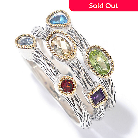 125-534 - Sterling Artistry by Effy 1.00ctw Multi Gemstone Scatter Ring