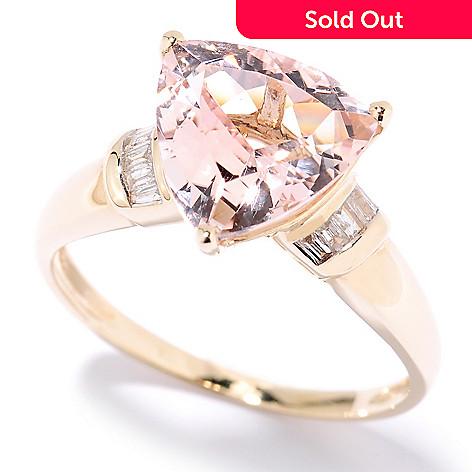 125-553 - Gem Treasures 14K Gold 3.03ctw Trillion Shaped Morganite & Diamond Ring