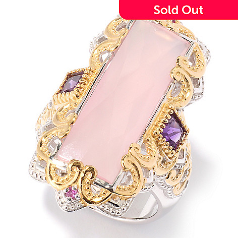 125-555 - Gems en Vogue 25 x 8mm Rose Agate, Amethyst & Pink Sapphire Ring