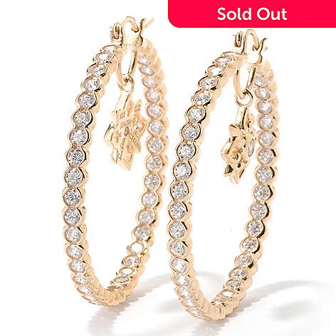 125-570 - Sonia Bitton 2.12 DEW Bezel Set Simulated Diamond Star Inside-Out Hoop Earrings