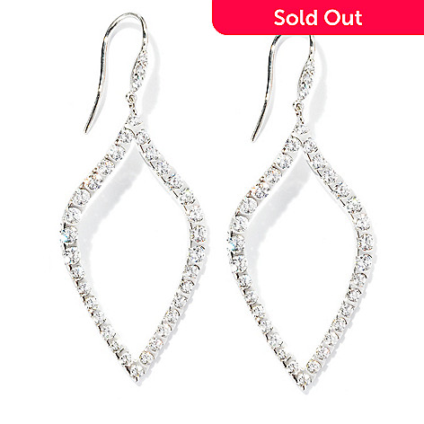 125-571 - Sonia Bitton Platinum Embraced™ 3.62 DEW Simulated Diamond Marquise Drop Earrings