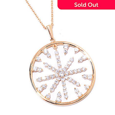 125-573 - Sonia Bitton for Brilliante® Gold Embraced™ 3.53 DEW Round Cut Starburst Pendant