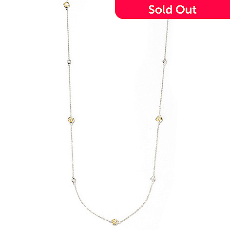 125-588 - Brilliante® Platinum Embraced™ 6.54 DEW Round Bezel Set Station Necklace