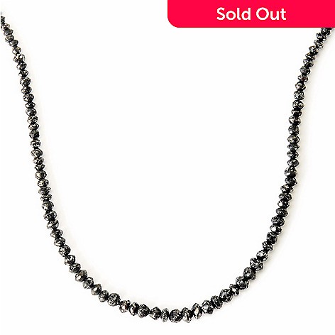 125-590 - Diamond Treasures® 14K Gold 18'' 24ctw Black Rough Diamond Necklace