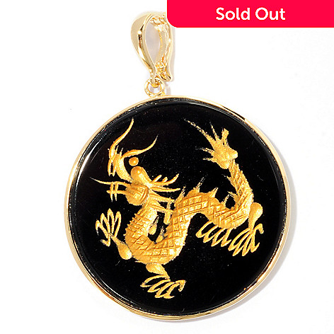 125-594 - 35mm Hand-Carved Black Onyx Dragon Enhancer Pendant