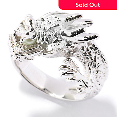 125-596 - Sterling Silver 3-4mm Dyed Freshwater Cultured Pearl Dragon Ring