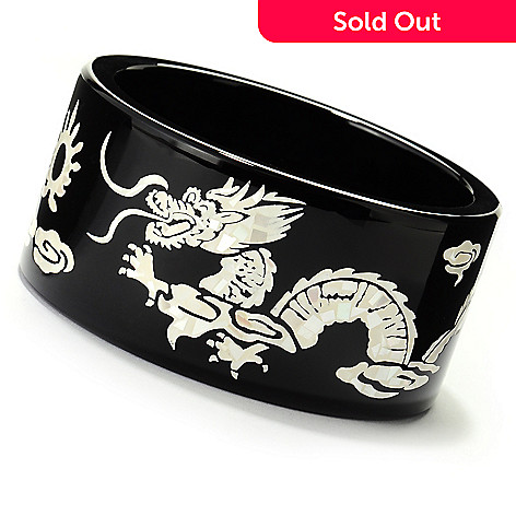 125-607 - Onyx & White Mother-of-Pearl Dragon & Phoenix Inlay Bangle Bracelet