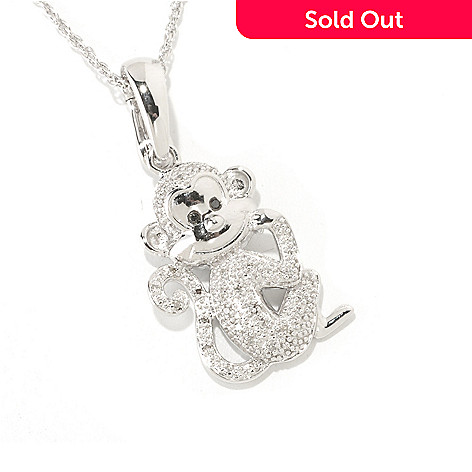125-609 - NYC II™ .11ctw White & Black Diamond Monkey Pendant w/ 18'' Chain