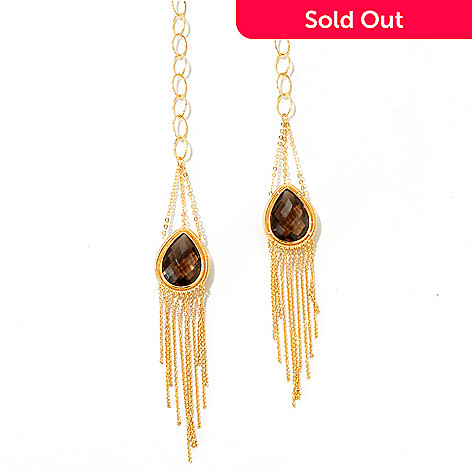 125-617 - Kristen Amato 47'' Wrap-Around Neck Chain w/ Smokey Quartz Fringe Tassels