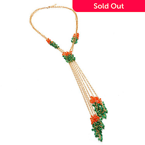 125-620 - Kristen Amato 20'' Green Onyx & Orange Carnelian Multi Strand Necklace