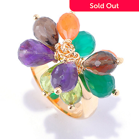 125-621 - Kristen Amato 8.38ctw Multi Gemstone Cluster Ring
