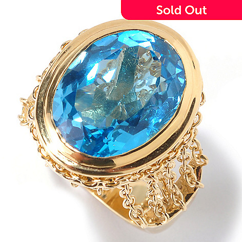 125-626 - Kristen Amato 10.51ctw Swiss Blue Topaz Chain Link Gallery Ring